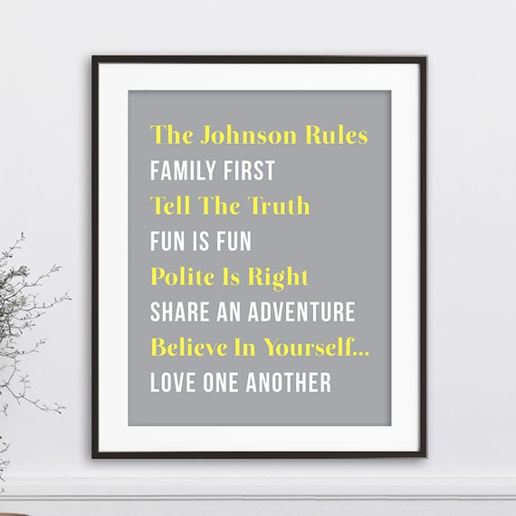 Family Rules Personalized Family Rules Sign Family Wall Art