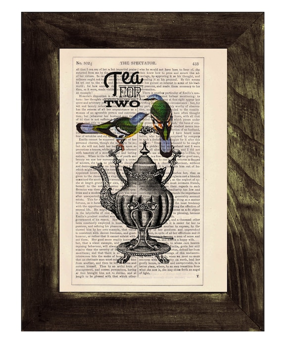 Dictionary print art Tea for two- Wall art collage-  Upcycled book page Art Dictionary  print- Home decoration BPTQ026