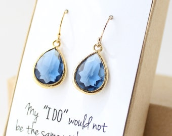 Navy Blue / Gold Teardrop Earrings - Montana Blue Teardrop Earrings - Blue Bridesmaid Earrings - Bridesmaid Gift Jewelry - EB1