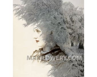 Avante Garde Surreal Art Print, 8.5 x 11 Inch Fairytale Collage Art Print, Ice Queen Altered Portrait
