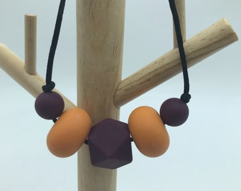 SILICONE BEADED NECKLACE: Autumn colours