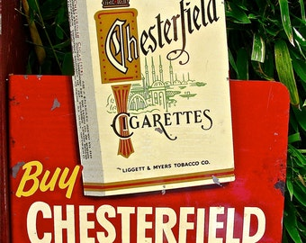 Vintage Chesterfield and L&M Double Sided Cigarette / Tobacco Flange Metal / Tin Advertising Sign