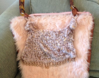 Eccentric, eclectic pink furry handmade purse with free form crochet and other craziness - OOAK
