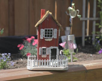 Handcrafted Wooden Country Home Birdhouse with Hand Carved Wooden Shingles, White Picket Fence and Detailed Windows with Shutters