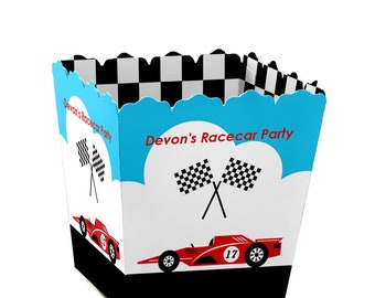 Let's Go Racing - Racecar - Party Mini Favor Boxes - Personalized Racing Party Candy Box - Race Car Birthday Party Favor Box - 12 Ct