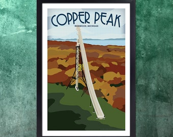 Vintage Inspired Travel Poster of Copper Peak in Ironwood, MI