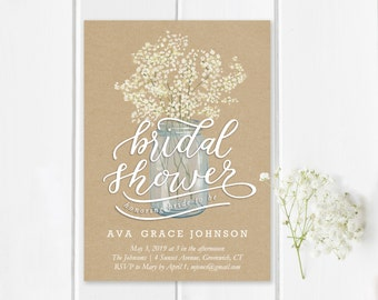 Bridal Shower Invitation Template | Editable Invitation Printable | Wedding  Mason Jar Rustic Kraft Invite | Instant Download | No. EDN 3009
