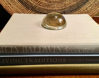 Vintage Domed Glass Magnifier Paperweight, Clear Glass