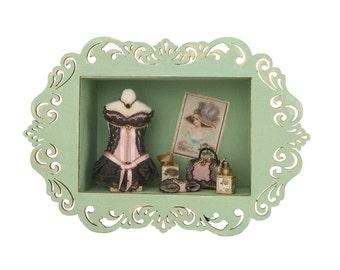Chambre boîte fait main thème collectionner vitrine Lingerie rose»