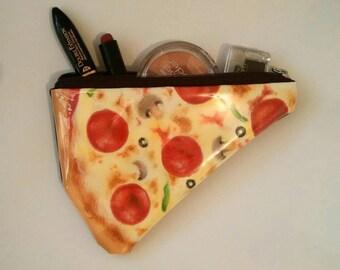 Multi functional Handpainted pizza pouch (makeup pouch, pencil case, handbag, purse)