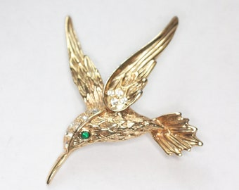 Hummingbird Pin Clear Rhinestone Crystals Gold Tone Metal Bird Brooch Gift for Her Bird Lover