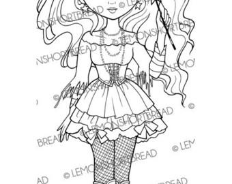 Digital Stamp Goth Fairy Witch, Halloween Digi Download, Star Wand, Magic, Scrapbooking Supplies, Clip Art, Graphic