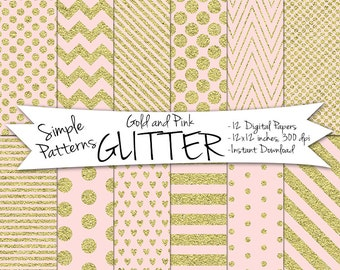 Pink and Gold Glitter Paper // Digital Gold Paper // Gold and Pink Polka Dot Digital Paper // Gold and Blush Paper // Digital Glitter Paper