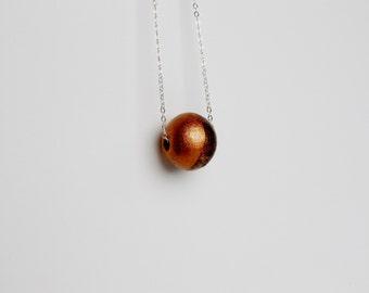 Bronze Walnut Wood Sterling Silver Geometric Modern Necklace