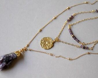 Three Strand Amethyst Nugget Gold Charm Pendant Necklace, February Birthstone Minimalist Necklace, Dainty Gold Necklace, Amethyst Necklace