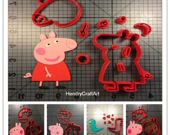 Family Of Peppa Pig Cartoon Fondant Cupcake/cookies cutter/baking mold/baking fondant/fondant cutter/biscuit mold/candy cutter/soap cutter