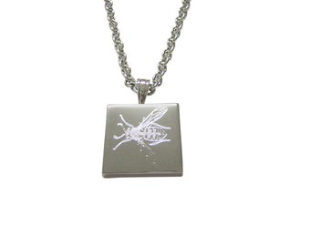 Silver Toned Etched Wasp Insect Necklace