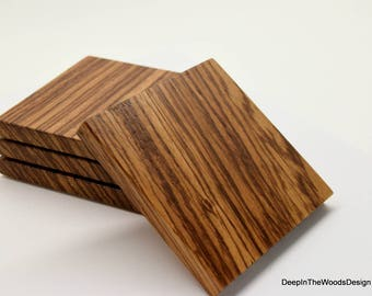 Wood Coasters - Zebra Wood Coaster Set - Solid Zebrawood Exotic Hardwood Coasters - Housewarming Gift