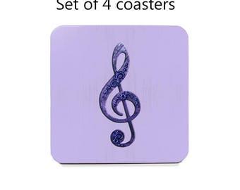Musical coaster set, drink coasters, set of 4, treble clef coasters, purple, cork back coasters, housewarming gift, hostess gift, music gift