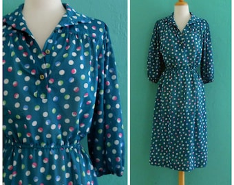 vintage 70's print dress // blue polka dot day dress