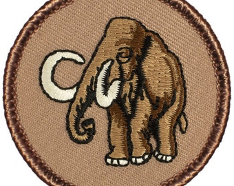 Wooly Mammoth Patch - 2 Inch Diameter Embroidered Patch