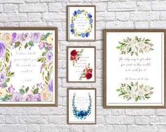 Disney Girl Quotes Floral Bundle (10) Digital Download