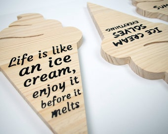 Personalized Wooden Ice Cream Home Decoration