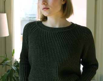the Slouchy Crew in Khaki -knitted sweater (loose fit raglan sleeve cozy minimal pullover)
