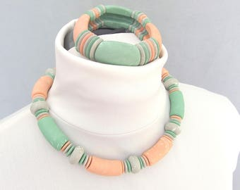 Chunky Necklace and Bracelet, Mint and Peach Vintage 1980's Demi Parure Jewelry