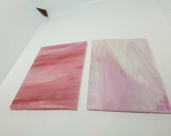 2 Pieces Streaked Pink Stained Glass