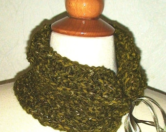 Neck Warmer/ Cowl Moss Green Silky Soft  with Satin Ribbons CLEARANCE Sale