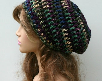 Crochet hat, Soft Purple Blue Green hat, smaller Dread Tam beanie, Slouchy Beanie Hippie hat, Snood Hat