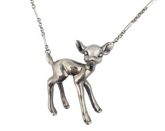 Deer Necklace     fawn bambi jewelry standing