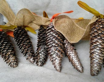 Pinecone garland, unique holiday decor, rustic decor, unique gift