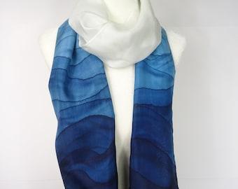 Hand painted silk scarf, handmade scarf, handpainted teal gradient, teal ombre silk scarf, teal silk scarf.