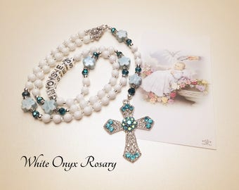Personalized Baptism Rosary. White and Blue Rosary. Christening Rosary. Catholic Rosary. Religious Gift. Holy Rosary. Star Rosary #R145