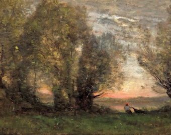 Jean-Baptiste C. Corot: The Fisherman - Evening Effect. Fine Art Print/Poster (004522)