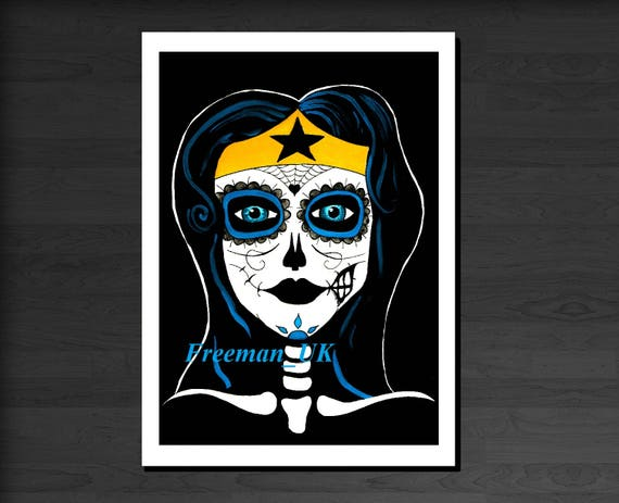 Day of the dead wonder woman greetings card m4hsunfo