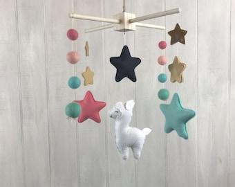 Baby mobile - llama mobile - star mobile - felt balls - gold star - nursery decor