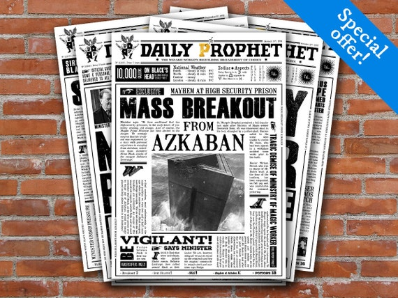 graphic regarding Daily Prophet Printable referred to as Harry Potter Every day Prophet Printable Addresses - Harry Potter Newspaper Fourth Pack