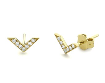 Dainty Diamond Earrings in 14k Solid Gold/ Chevron Earrings/ V Stud Earrings/ Delicate Diamond Studs/ Mothers Day Gift