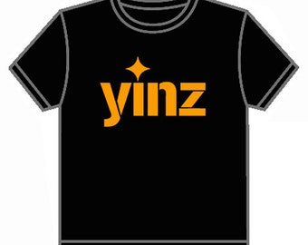 Yinz T-shirt Pittsburgh Black and Gold Local Design Locally Printed