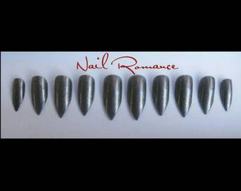 Silver Bullet Pointy Stiletto /Stiletto Nails / Holiday Nails /Fake Nails / Press On Nails /Glue On Nails