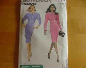 Vintage 1980s Butterick Pattern 3004,  Misses Slim, Straight Dress, Misses Size Multi Size 6-10, Bust 30 1/2 - 32 1/2, Uncut