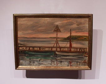Oil painting of danish beach, signed FK, 1930s