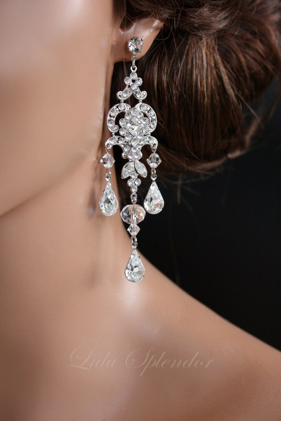 Chandelier wedding earrings swarovski crystal bridal earrings like this item aloadofball Image collections