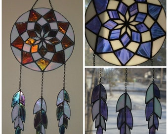 Stained Glass Dream Catcher Iridescent Purple and White, Custom Colors Available