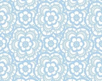 "EXTRA 20 20% OFF Riley Blake Designs ""Blue Carolina"" Lace White"