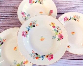Vintage Pope Gosser China Bowls / Set of 4 / Wedding / Mismatched China