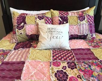 Queen Size Quilt - Boho Bedding - King Size Quilt - Rag Quilt Bedding - Purple Bed Quilt - Rustic quilt Bedding - Handmade Bedding